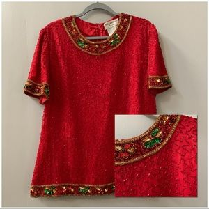 Silk beaded Red & Green elegant Christmas top